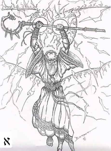 Arte: Luis Berbert, 1996 - o primeiro esboço feito de um Haioth Haqodesh